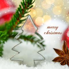 Postkarte mit Weihnachtsbaum - merry christmas