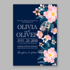 Wedding invitation template with watercolor winter flower christmas wreath fir, pine branch