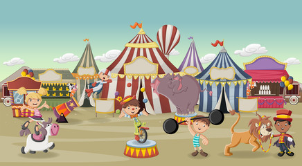 Cartoon characters and animals in front of retro circus with tents. Vintage carnival background with children.