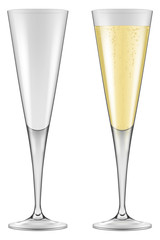 Champagne flutes. Photo-realistic vector illustration.