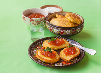 Red caviar and thick potato pancakes at Shrovetide (mass produce