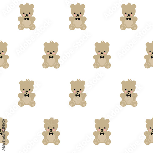 Teddy Bear Seamless Pattern On White Background Cute Vector With