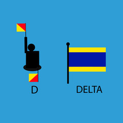 International marine signal flag, sea alphabet , vector illustration, semaphore, communication, delta.