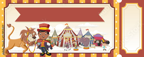 ticket with cartoon characters in front of retro circus vintage