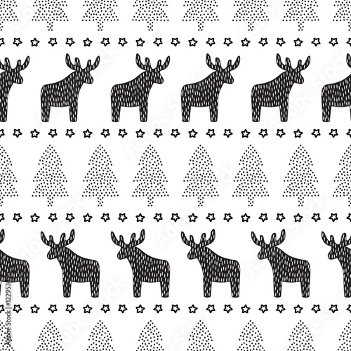 Christmas seamless pattern. Black and white Christmas background ...