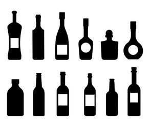Set of vector silhouettes of bottles icon wine collection on a white background vector