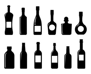 Set of vector silhouettes of bottles on a white background bottle icon collection