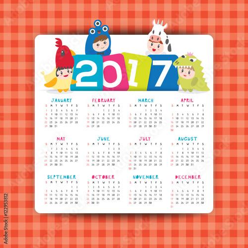 2017 Calendar Vector Template With Kids Cartoon Character Stock