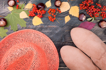 Women's autumn shoes, hat, leaves, chestnut and dried rowan on a wooden background. Autumn clothing and accesories. Top view