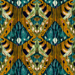 Ikat seamless bohemian ethnic pattern in watercolour style.