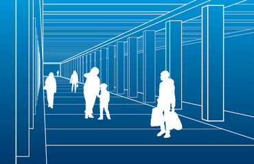 Subway station, people waiting  train, city scene, white lines on blue background, vector design art