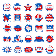 American Vote Labels Set - Isolated On White Background - Vector Illustration, Graphic Design. For Web,Websites,Print,Presentation Templates,Mobile Applications And Promotional Materials