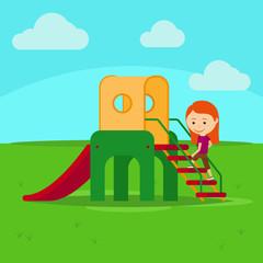 Girl on playground flat cartoon vector illustration