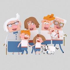 3d illustration. Blonde family posing photography
