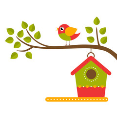 cartoon bird and birdhouse on a branch on a white background