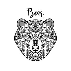 Hand drawn black doodle bear face. Vector illustration