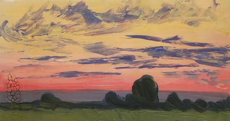 Evening landscape. Sunset. Oil painting