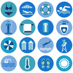 Swimming Pool, beach icons