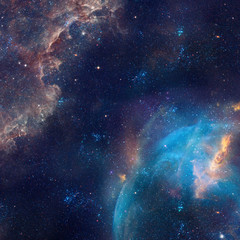 Galaxy ilustracja, tło z gwiazdami, mgławica, chmury kosmosu