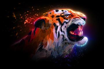 Иллюстрация рычащий тигр. Зов тигра.