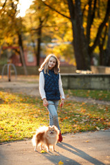 Cute Teenager girl walks with her spitz Dog in Autumn park. Sunny day, selective focus
