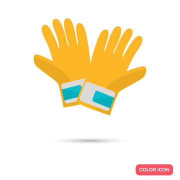 Color construction gloves flat icon. Stock Vector icon. Illustration for web and mobile design