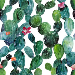 Photo sur Aluminium Aquarelle la Nature Cactus pattern in watercolor style