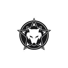 Wolf Star Emblem Logo Modern Vector Icon