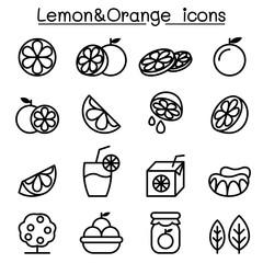 Lemon & Orange icon set in thin line style