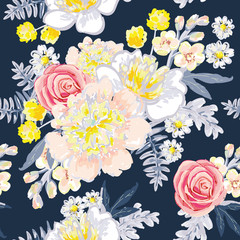 Delicate bouquets on the dark blue background. Vector seamless pattern with flowers. Peony, daisy, rose, gillyflower, fern. Pastel yellow, pink, gray colors.