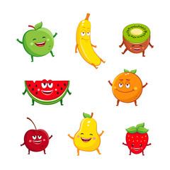 Funny fruits characters cartoon set