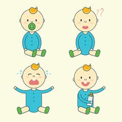 Cartoon baby boy emotion set. Newborn child or infant emoticon.