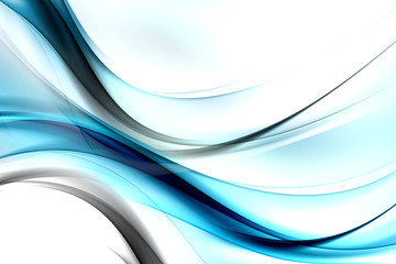 Abstract Flow Blue White Wave Design Black Background