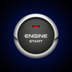Realistic Engine start button on dark background, vector illustration