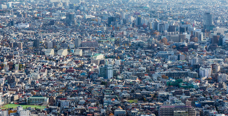 Top view, Tokyo crowds residence area, Japan, cityscape downtown background