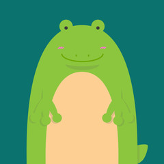 cute big fat frog on green background