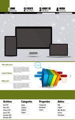 Website template, easy editable vector