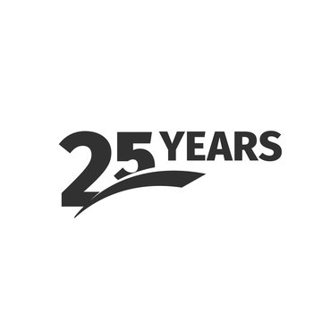 Isolated abstract black 25th anniversary logo on white background. 25 number logotype. Twenty-five years jubilee celebration icon. Twenty-fifth birthday emblem. Vector anniversary illustration.