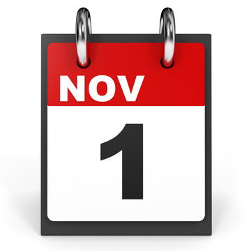 November 1. Calendar on white background.