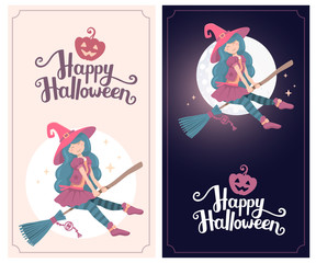 Vector colorful template with halloween illustration of witch ch