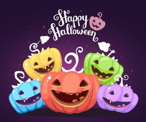 Vector halloween illustration of heap decorative pumpkins of dif