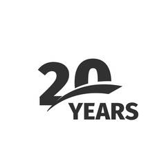 Isolated abstract black 20th anniversary logo on white background. 20 number logotype. Twenty years jubilee celebration icon. Twentieth birthday emblem. Vector anniversary illustration.