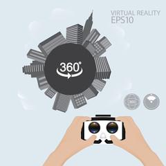 Man hand hold Virtual reality glasses. VR technology.urban scene technology trend vector illustration