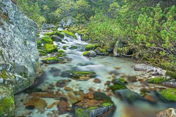 High Tatras - The mountain creek under Zelene pleso lake.