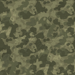 Military camouflage seamless pattern. Grunge and aged. Four colo