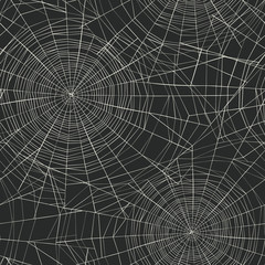 Halloween themed seamless pattern. Spider web background.