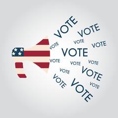 US elections politics marketing communication: megaphone with vo