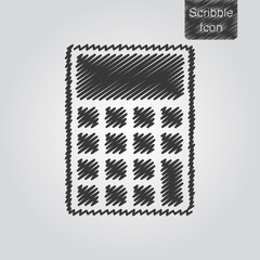 Vector icon of calculator in scribble style