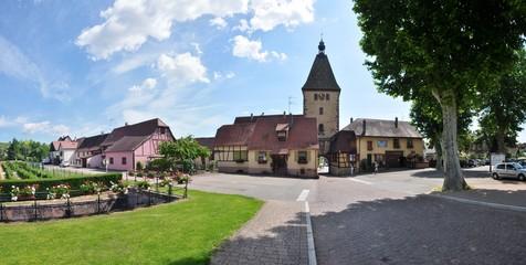 L'entrée du village alsacien de Bergheim en Alsace