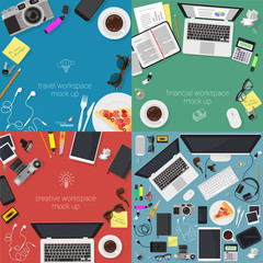 Top view vector workplaces.